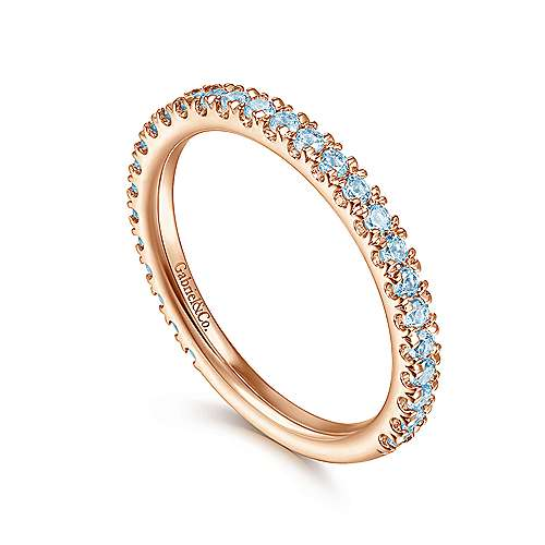 14k Pink Gold Swiss Blue Topaz Stackable Ladies