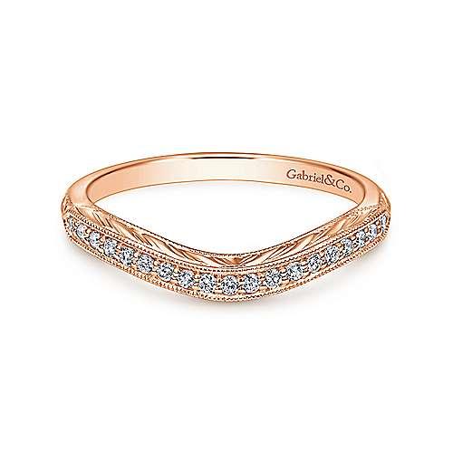 Gabriel - 14k Pink Gold Victorian Curved Wedding Band