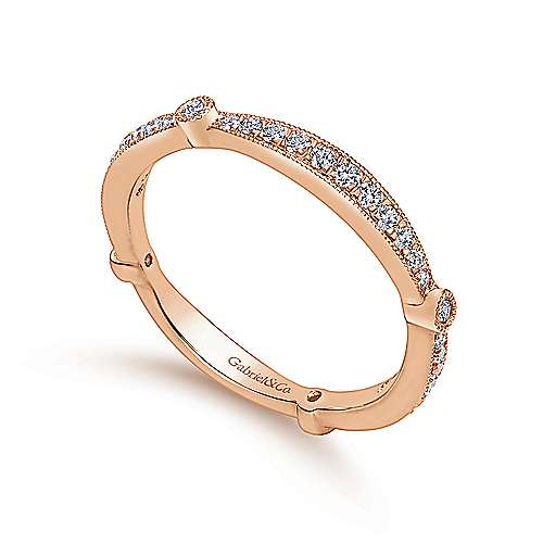 14k Pink Gold Victorian Curved Wedding Band angle 3