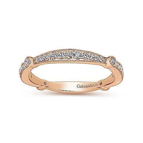 14k Pink Gold Victorian Curved Wedding Band angle 5