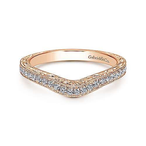 Gabriel - 14k Pink Gold Victorian Curved Wedding Band