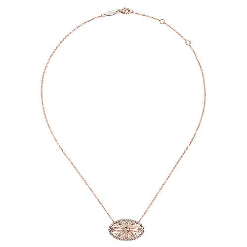 14k Pink Gold Victorian Fashion Necklace angle 2