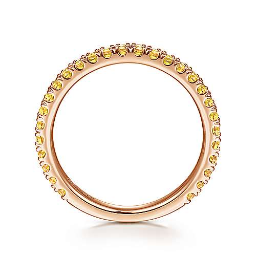 14k Pink Gold Yellow Sapphire Stackable Ladies