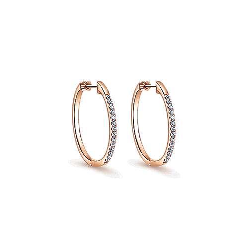14k Rose Gold 30mm Classic Diamond Hoop Earrings