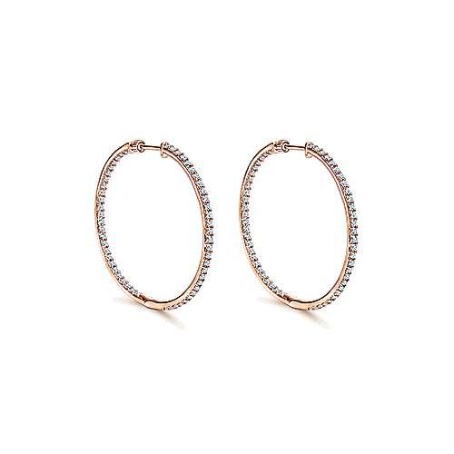 14k Rose Gold 35mm Inside Out Slim Diamond Hoop Earrings