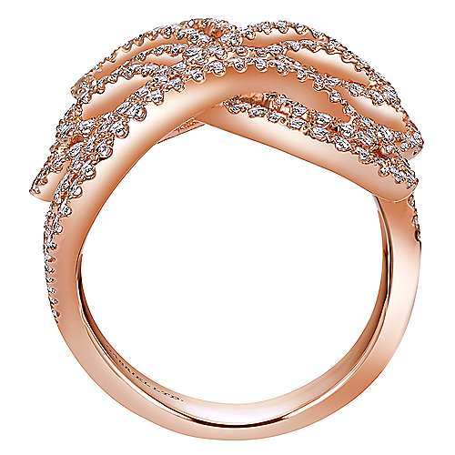14k Rose Gold Allure Fashion Ladies' Ring angle 2