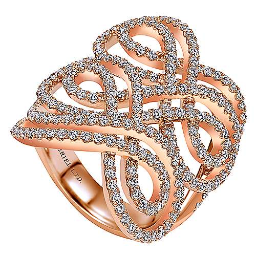 14k Rose Gold Allure Fashion Ladies' Ring angle 3
