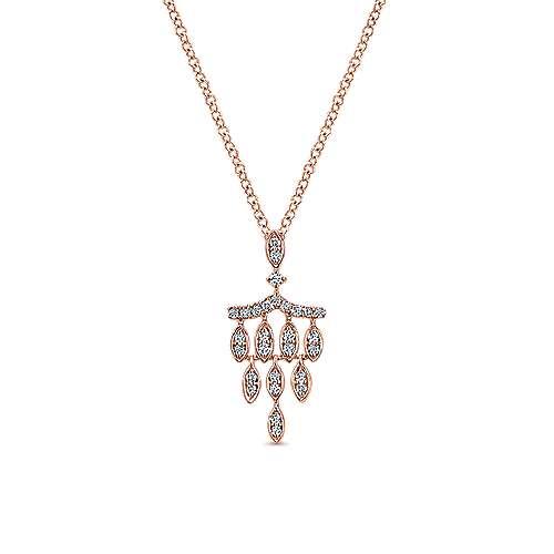 14k Rose Gold Art Deco Fashion Necklace angle 1