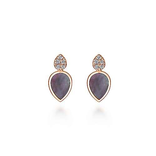 14k Rose Gold Art Moderne Stud Earrings