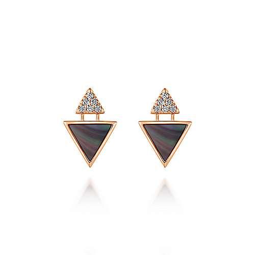 14k Rose Gold Art Moderne Stud Earrings angle 1