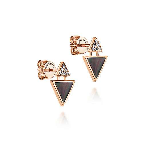 14k Rose Gold Art Moderne Stud Earrings angle 2