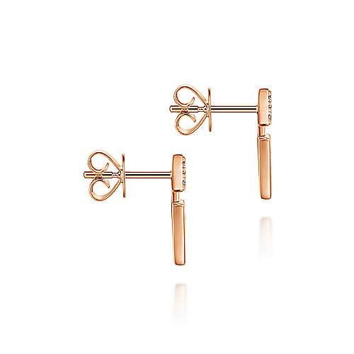 14k Rose Gold Art Moderne Stud Earrings angle 3