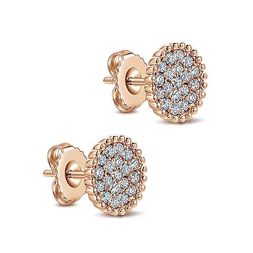 14k Rose Gold Bombay Stud Earrings angle 2