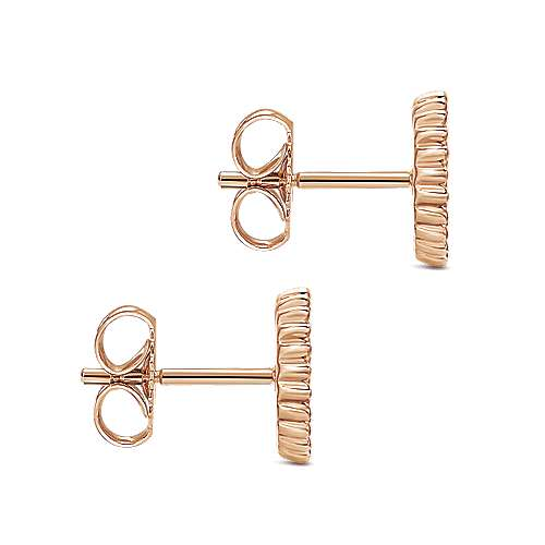 14k Rose Gold Bombay Stud Earrings angle 3