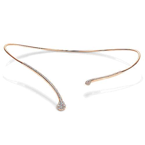 14k Rose Gold Cascade Choker Diamond Choker Necklace angle 3