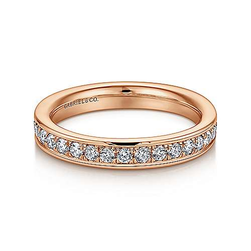 Gabriel - 14k Rose Gold Channel Prong Set Eternity Band