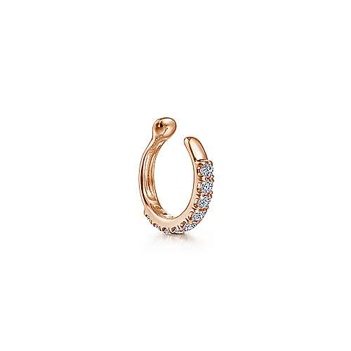 14k Rose Gold Classic Diamond Earcuff Earring