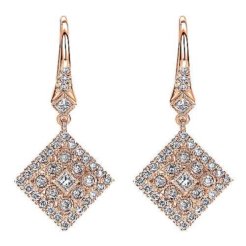 Gabriel - 14k Rose Gold Clustered Diamonds Drop Earrings