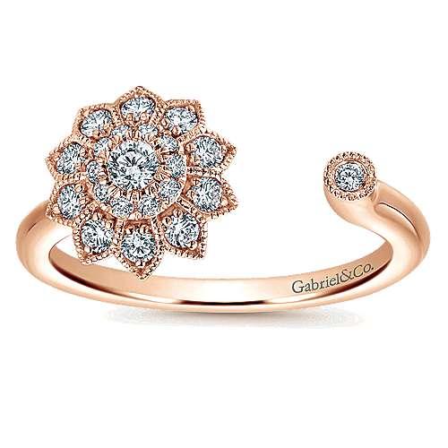 14k Rose Gold Clustered Diamonds Fashion Ladies