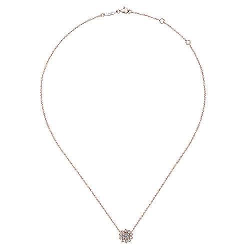14k Rose Gold Clustered Diamonds Fashion Necklace angle 2