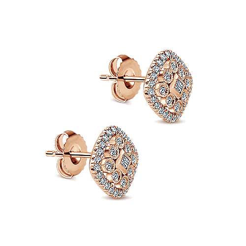 14k Rose Gold Clustered Diamonds Stud Earrings angle 2
