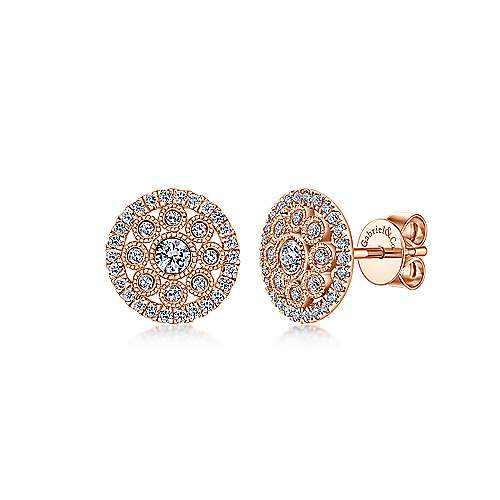 Gabriel - 14k Rose Gold Clustered Diamonds Stud Earrings
