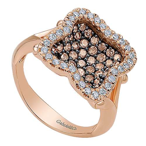 14k Rose Gold Cocoa Fashion Ladies' Ring angle 3
