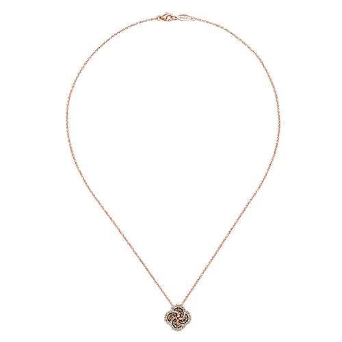 14k Rose Gold Cocoa Fashion Necklace angle 2