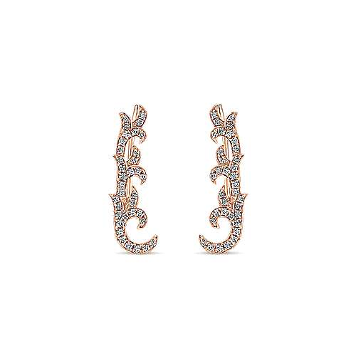 14k Rose Gold Comets Ear Climber Earrings angle 1