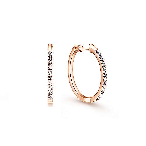 14k Rose Gold Contemporary Classic Hoop Earrings angle 1