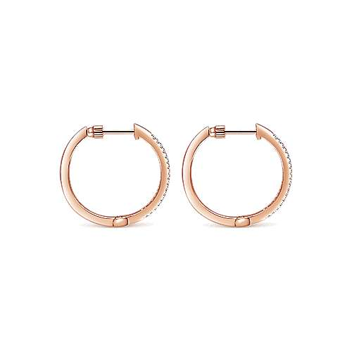 14k Rose Gold Contemporary Classic Hoop Earrings angle 2