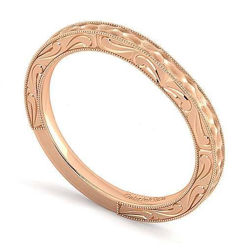 14k Rose Gold Contemporary Curved Wedding Band angle 3