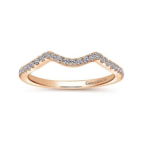 14k Rose Gold Contemporary Curved Wedding Band