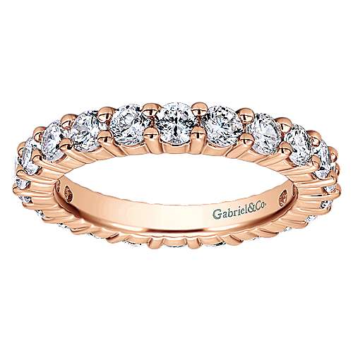 14k Rose Gold Contemporary Eternity Anniversary Band angle 5