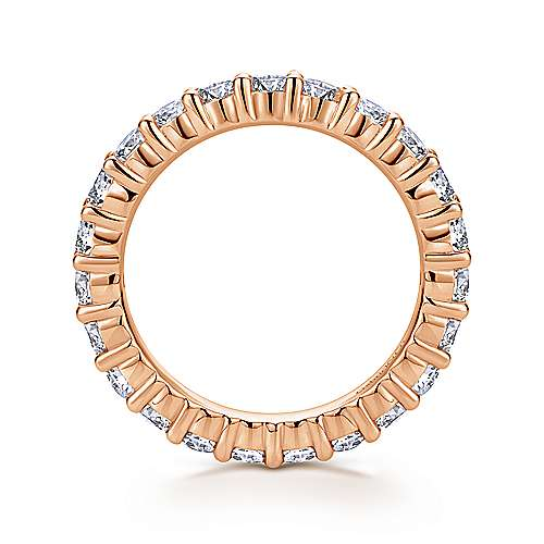 14k Rose Gold Contemporary Eternity Band Anniversary Band angle 2