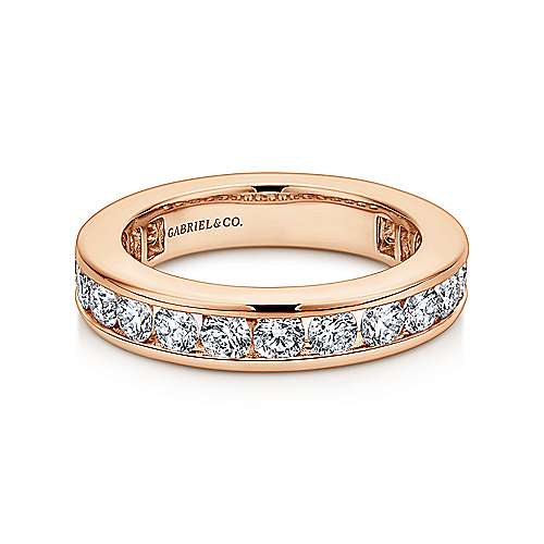 14k Rose Gold Contemporary Eternity Band Anniversary Band angle 1