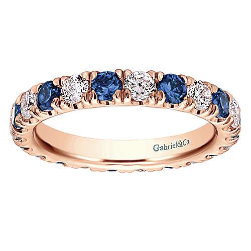 14k Rose Gold Contemporary Eternity Band Anniversary Band angle 5