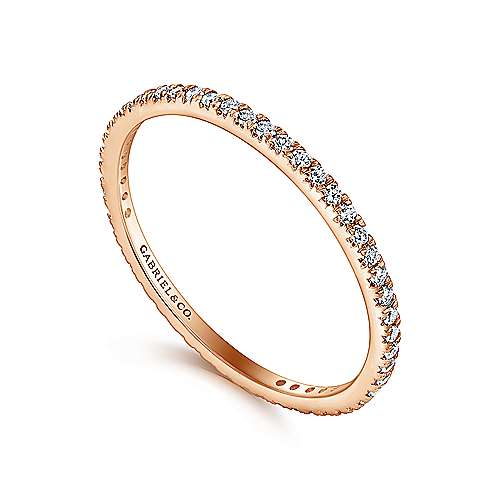 14k Rose Gold Contemporary Eternity Band Anniversary Band angle 3