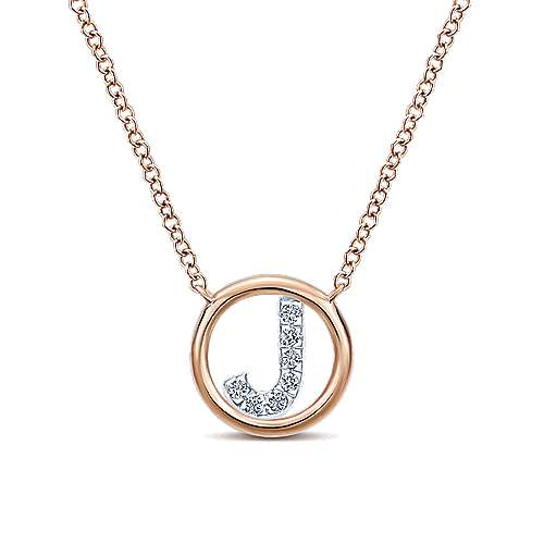 14k rose gold contemporary initial necklace nk4522j k45jj 14k rose gold contemporary initial necklace aloadofball Choice Image