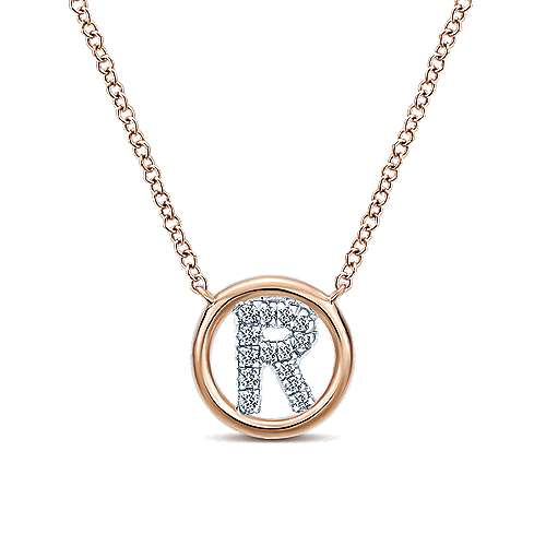 14k Rose Gold Contemporary Initial Necklace angle 1