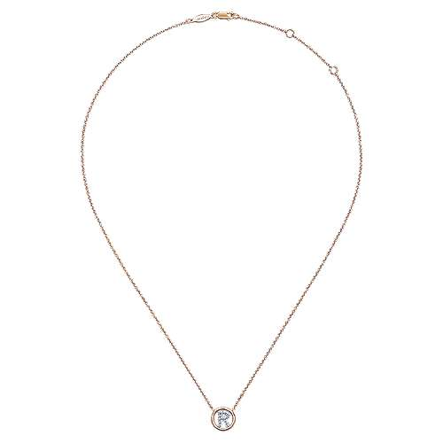 14k Rose Gold Contemporary Initial Necklace angle 2