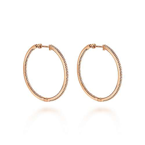 14k Rose Gold Contemporary Inside Out Diamond Hoop Earrings angle 1