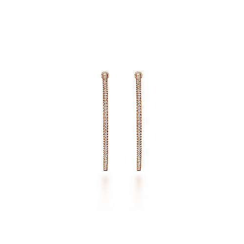 14k Rose Gold Contemporary Inside Out Diamond Hoop Earrings angle 3