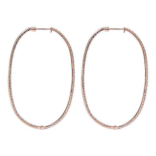 14k Rose Gold Contemporary Inside Out Diamond Hoop Earrings angle 2