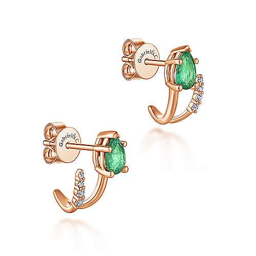 14k Rose Gold Contemporary J Curve Earrings angle 2