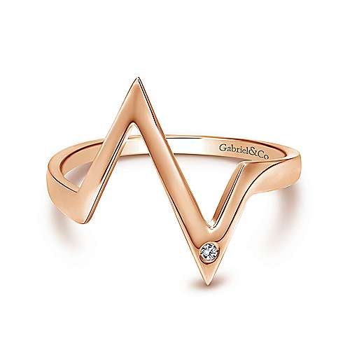 14k Rose Gold Contemporary Midi Ladies' Ring angle 1
