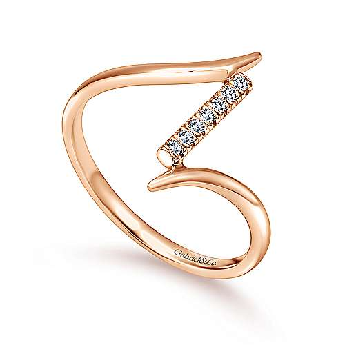 14k Rose Gold Contemporary Midi Ladies' Ring angle 3