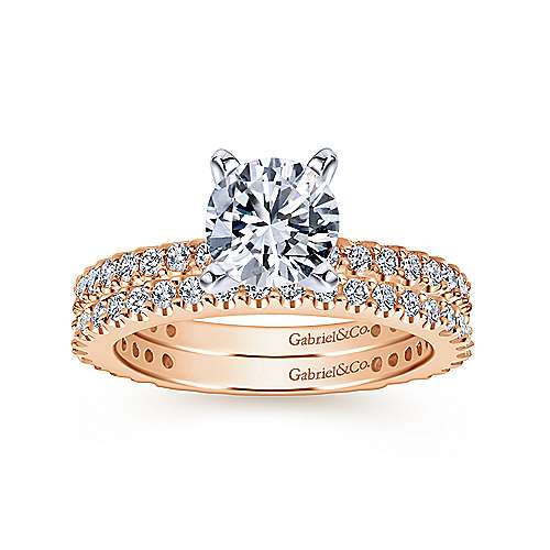 14k Rose Gold Contemporary Straight Wedding Band angle 4