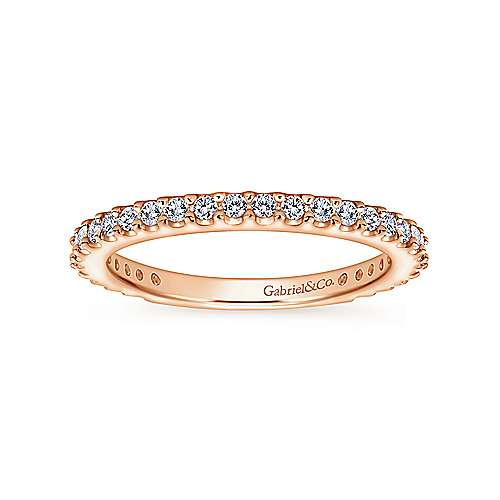 14k Rose Gold Contemporary Straight Wedding Band angle 5