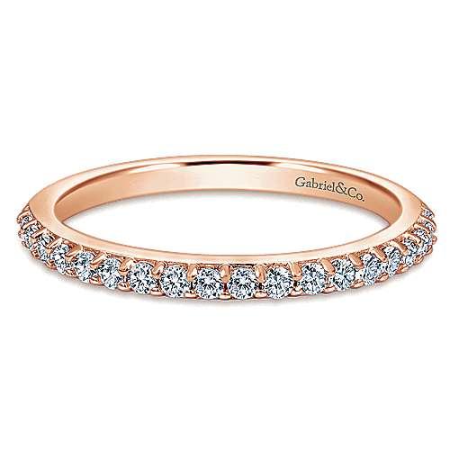 14k rose gold contemporary wedding band angle 1 - Contemporary Wedding Rings